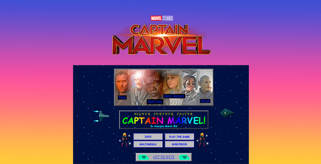 Pagina web de Capitana Marvel